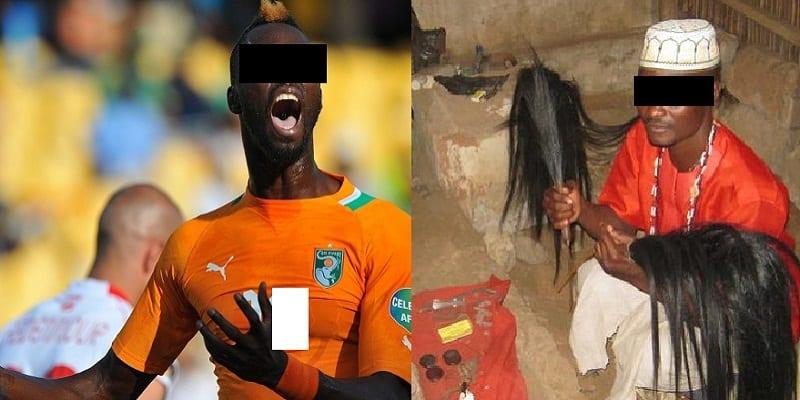 joueur ivoirien avec son feticheur