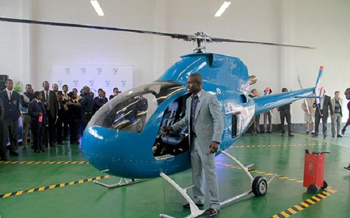 1-SAITH-Helicopter-stands-by-the-two-seater-helicopter-which-uses-six-different-types-of-fuel