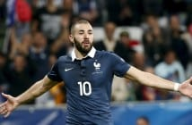 France's Karim Benzema celebrates after scoring during their friendly soccer match against Armenia at Allianz Riviera stadium in Nice, France, October 8, 2015. REUTERS/Eric Gaillard - RTS3MYE