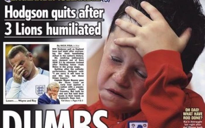"""EURO 2016: La une du jounal """"SUN"""" avec le fils de Rooney en pleurs fait polémique"""