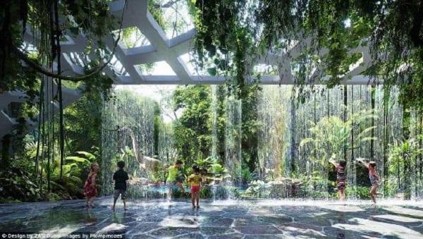 Découvrez en photos le premier hôtel du monde qui aura une forêt tropicale et une plage artificielle dans le ciel