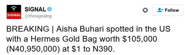 Nigeria: Le sac à main de 105.000$ de la première dame Aisha Buhari crée la controverse