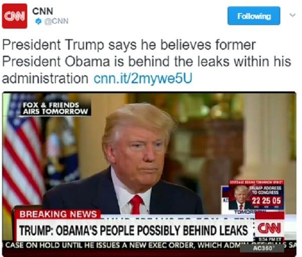 Donald Trump accuse Barack Obama d'être responsable des fuites à la Maison Blanche