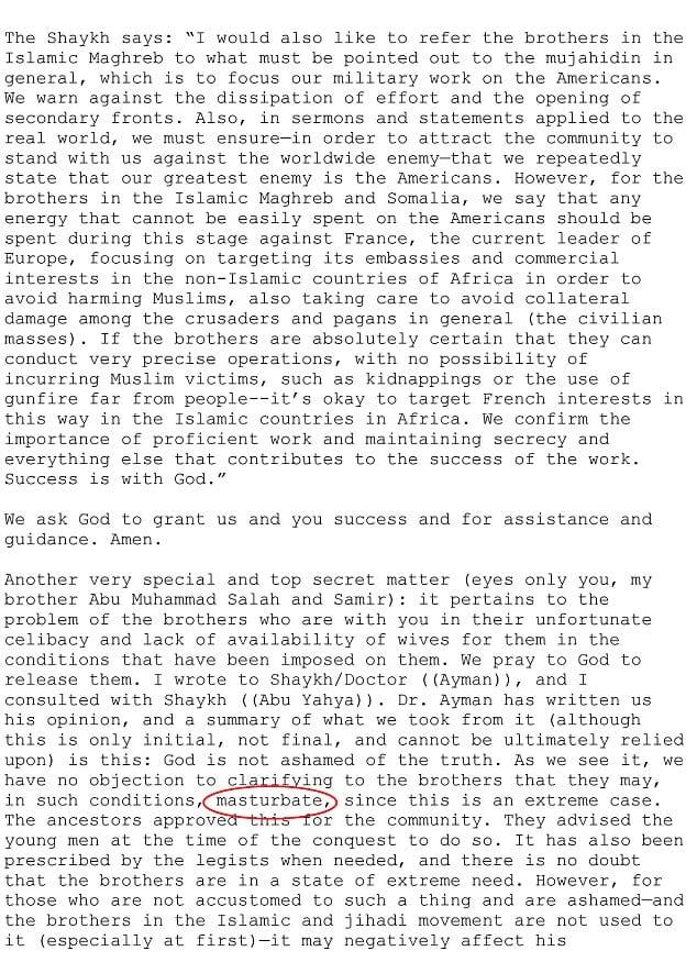 Révélation d'une lettre d'Oussama Ben Laden précisant quand les djihadistes devraient se masturb3r