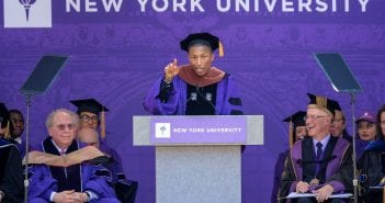 NEW YORK, NY - MAY 17:  Pharrell Williams speaks during the New York University 2017 Commencement at Yankee Stadium on May 17, 2017 in the Bronx borough of New York City.  (Photo by Dia Dipasupil/Getty Images)