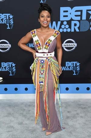 Nomzamo Mbatha arrives at the BET Awards at the Microsoft Theater on Sunday, June 25, 2017, in Los Angeles. (Photo by Richard Shotwell/Invision/AP)