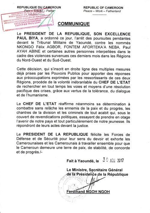 Cameroun : le Président Paul Biya ordonne la libération des détenus anglophones
