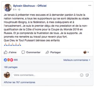 Qualifications Mondial 2018: Le message de Sylvain Gbohouo aux Ivoiriens après l'élimination