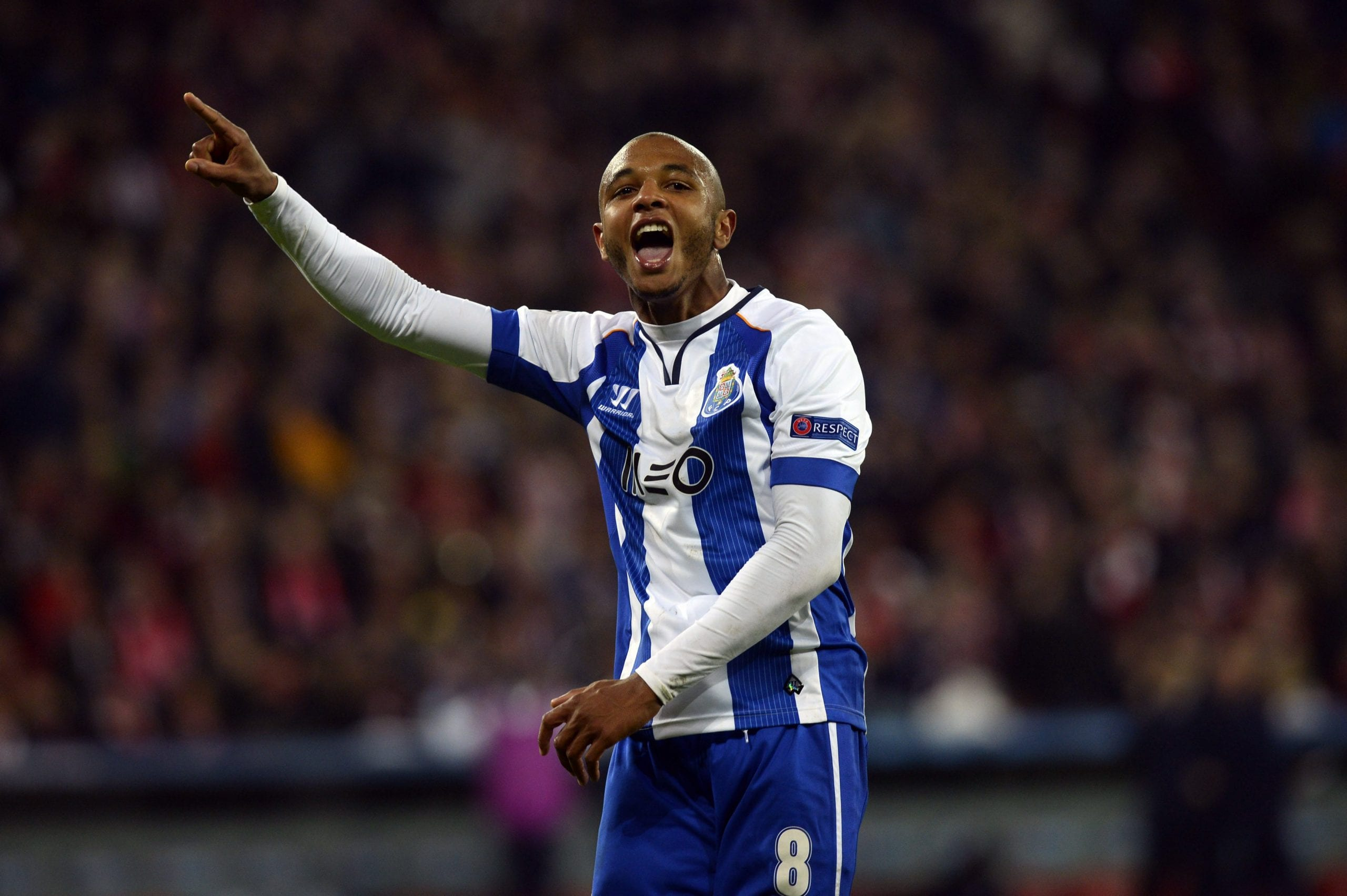 Porto's Yacine Brahimi celebrates a goal during their Champions League Group H soccer match against Athletic Bilbao at San Mames stadium in Bilbao