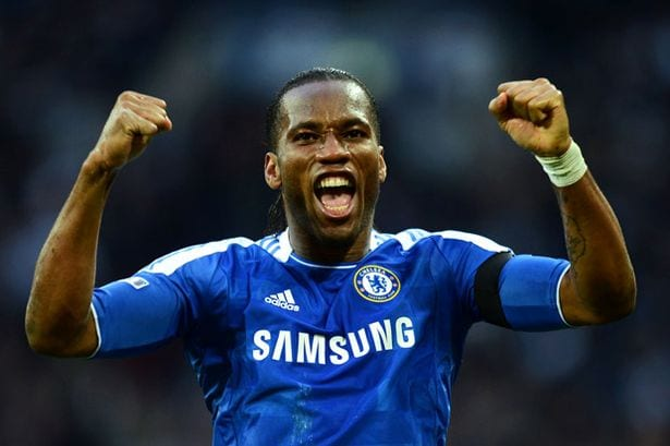 Didier Drogba celebrates Chelsea goal in FA Cup semi final win over Tottenham 2012