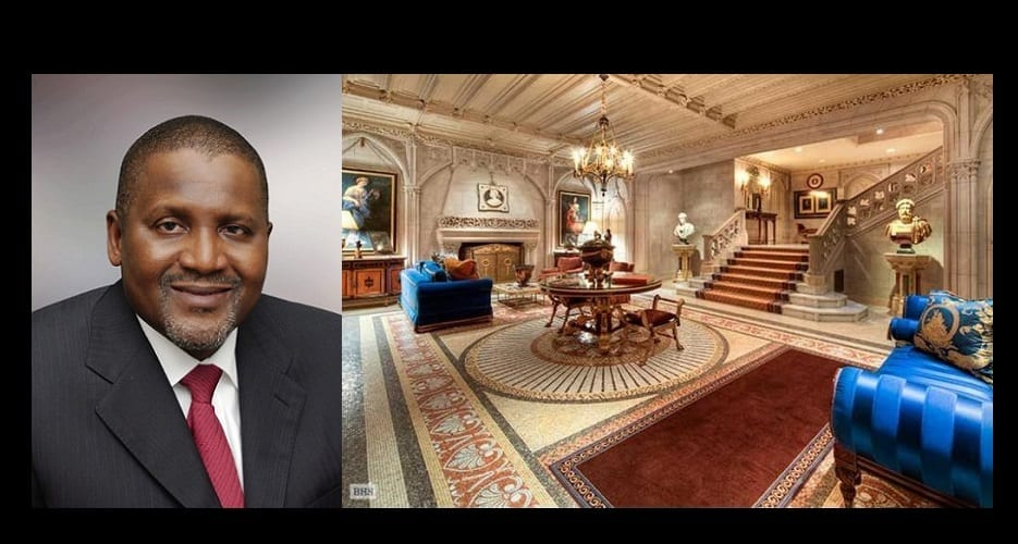 aliko dangote d couvrez en photos sa maison de 26 millions d 39 euros couper le souffle afrikmag. Black Bedroom Furniture Sets. Home Design Ideas
