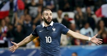 France's Benzema celebrates after scoring during their friendly soccer match against Armenia at Allianz Riviera stadium in Nice
