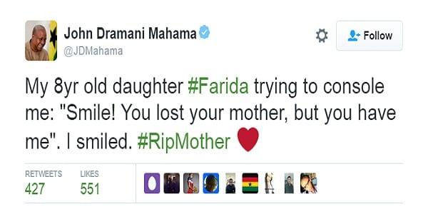 Ghana: Le président Mahama révèle comment sa fille l'a réconforté après la mort de sa mère