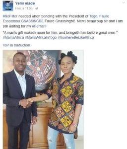 Togo : Yemi Alade réclame une Ferrari à Faure Gnassingbé (photos)