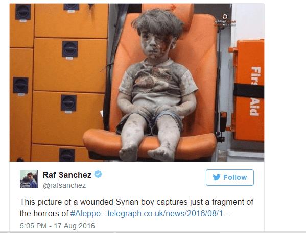Syrie: Un enfant de cinq ans devient le symbole des rebelles d'Alep