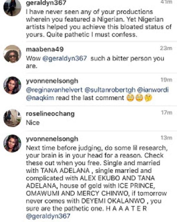 Yvonne Nelson clashe l'un de ses fans sur Instagram