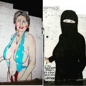 Un artiste australien habille Hillary Clinton en bikini, puis en voile intégrale, malgré des plaintes (photo)