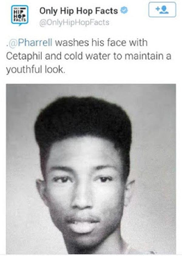Pharrell Williams: Voici pourquoi il a l'air toujours jeune malgré ses 43 ans