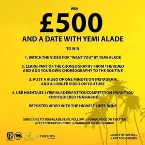 Yemi Alade lance un concours: Gagnez 500 £ et un diner avec elle (image-vidéo)