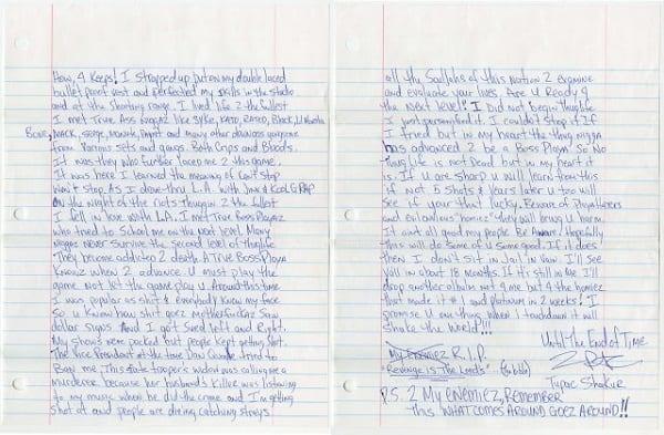 Une lettre écrite à la main de Tupac Shakur en prison vendue à plus de 170.000 $: PHOTOS