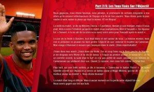 Message émouvant de Samuel Eto'o aux Lionnes indomptables du Cameroun