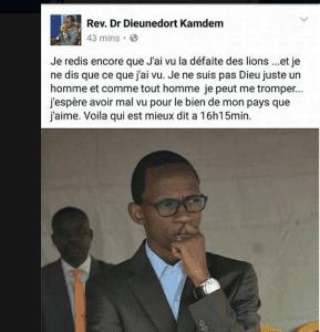 CAN 2017: Un pasteur s'attire la foudre des internautes pour avoir prédit la défaite du Cameroun contre le Sénégal