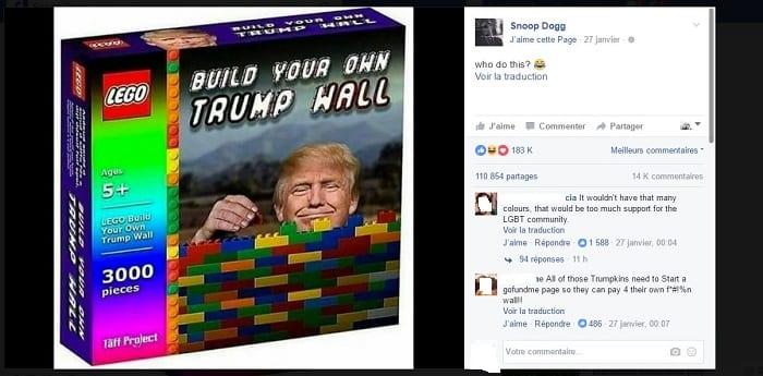 Le chanteur Snoop Dogg se moque du président américain, Donald Trump