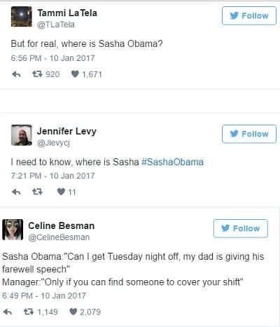 USA: Pourquoi Sasha Obama etait absente au discours d'adieux de son père