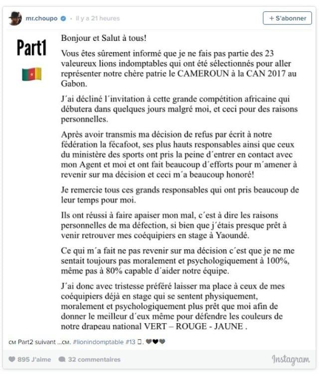 Cameroun: Eric Maxime Choupo-Moting explique pourquoi il n'ira pas à la CAN