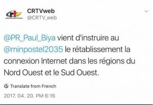 L'internet est de retour: la partie anglophone du Cameroun «ressuscite» 4 mois après le «black out»