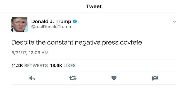 """""""Covfefe"""" le tweet de Donald Trump à la base d'une proposition de loi"""