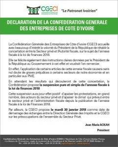 Côte d'Ivoire: La CGECI demande la suspension de l'Annexe fiscale 2018