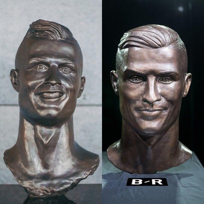 La sculpture de Cristiano Ronaldo retouchée au niveau du Buste (photo)