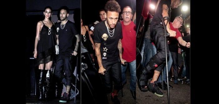 PSG: Neymar se rend en boîte avec des béquilles (photos)