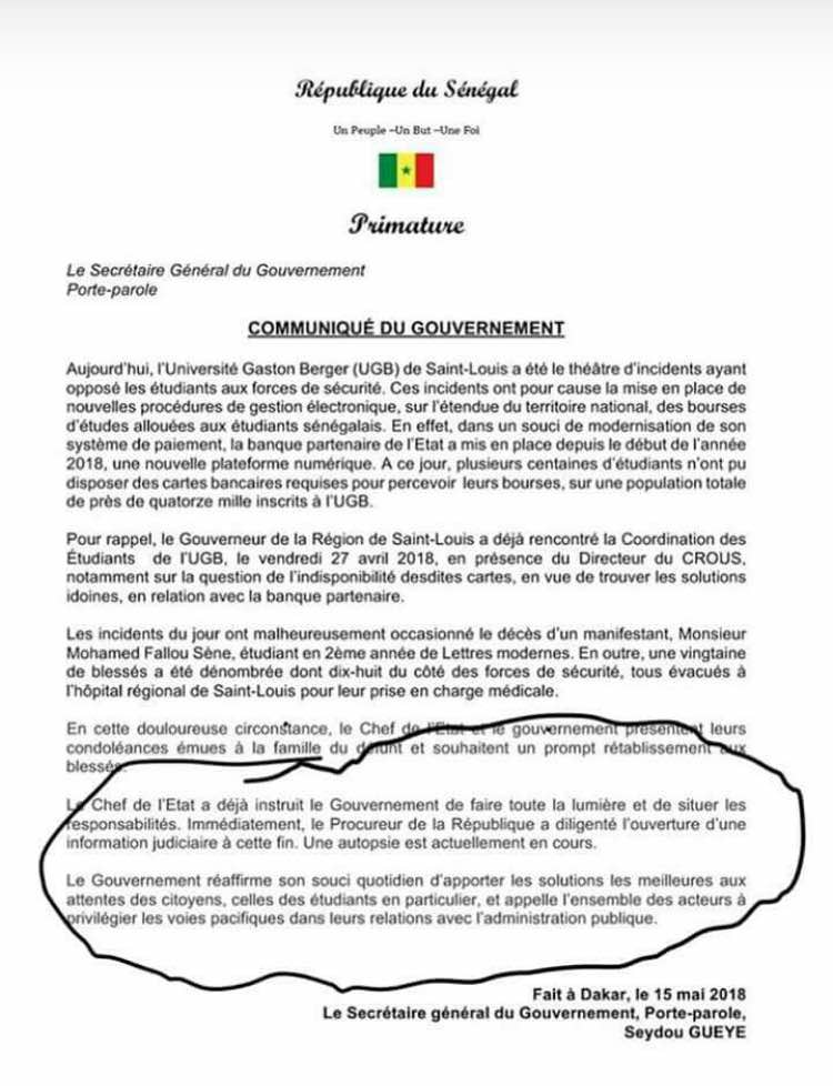 Sénégal: Un étudiant tué le lendemain de ses 25 ans pour 150 Fcfa (Vidéos)
