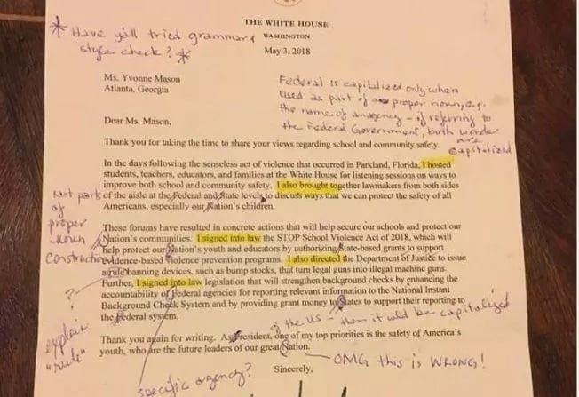 Etats-Unis: Une enseignante reçoit une lettre de Donald Trump truffée de fautes. Sa réaction vous surprendra