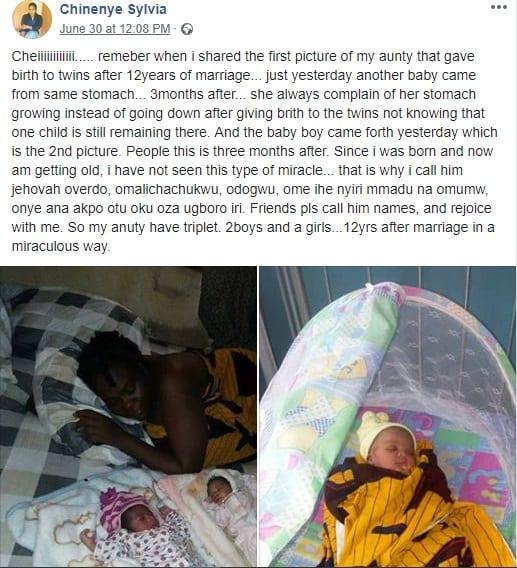 Insolite/Nigeria: elle accouche d'un garçon, 3 mois après avoir donné naissance à des jumeaux