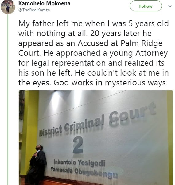 Afrique du Sud: abandonné par son père à 5 ans, il devient l'avocat qui le sauve à 25 ans