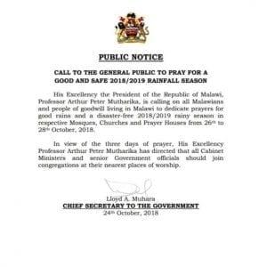 Malawi: Le président Peter Mutharika décrète trois jours de prière pour la pluie