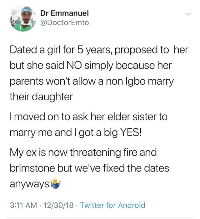 Insolite-Nigeria: Un médecin épouse la sœur de son ex et dit pourquoi
