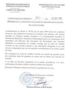 Côte d'Ivoire: Le gouvernement interdit la vente de volailles dans les rues !