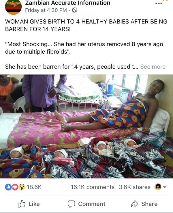 Zambie/Insolite: Une femme sans utérus aurait donné naissance à des quadruplés