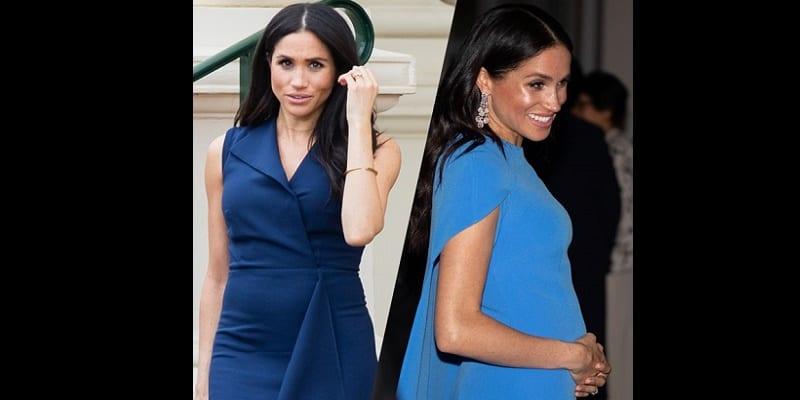 Sa robe moulante beige coûte moins de... 30 euros — Meghan Markle enceinte