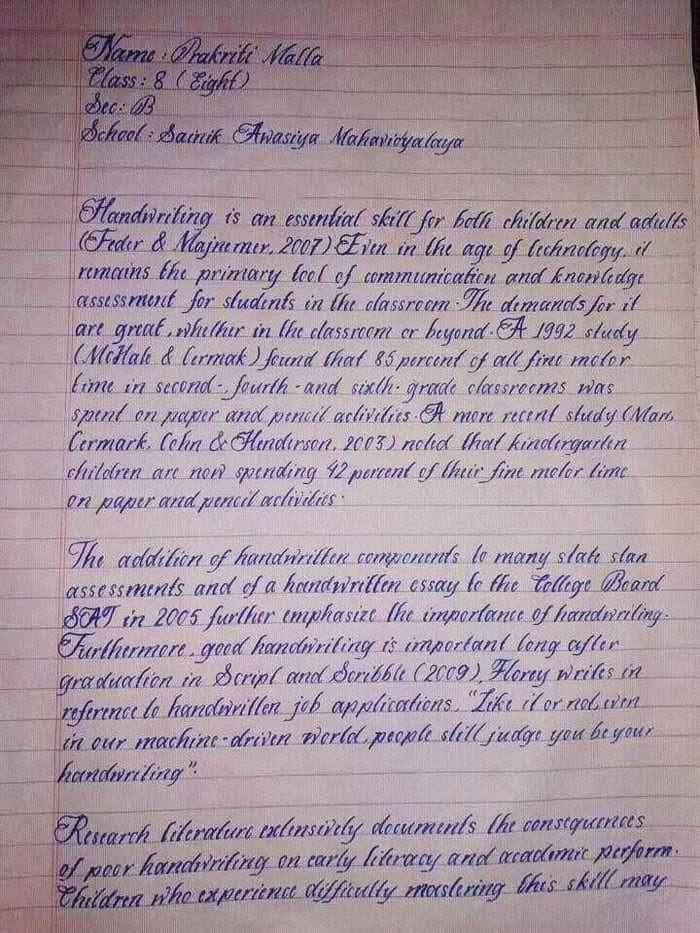 Prakriti Malla: l'élève avec la plus belle écriture au monde