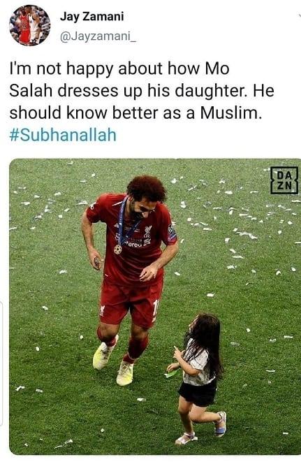Un musulman en colère contre la façon dont Mohammed Salah habille sa fille