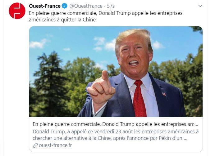 Donald Trump ordonne aux entreprises américaines de quitter la Chine