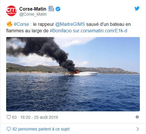 Maître Gims: son bateau prend feu en pleine mer
