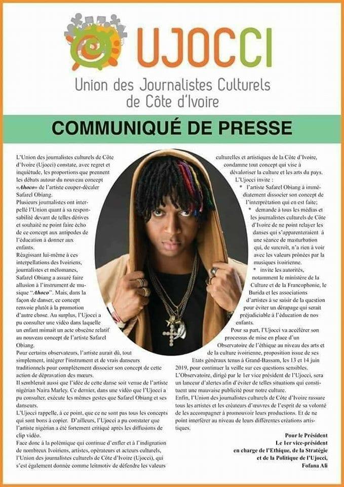 Safarel Obiang: Les journalistes culturels ivoiriens opposés à son nouveau concept