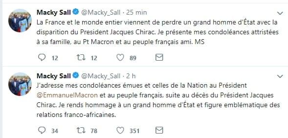 Décès de Jacques Chirac: Le message des chefs d'Etat africains