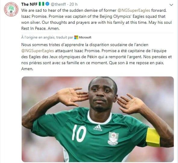 Sport : Décès de l'international nigérian Isaac Promise à l'âge de 31 ans